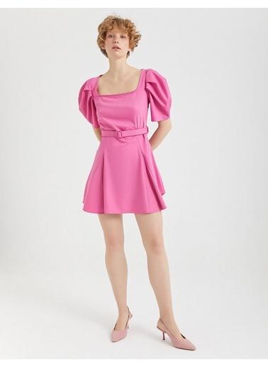 BGN Şeker Pembe - Balon Kol Mini Elbise Pembe